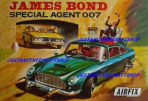 Airfix-1966-James-Bond-007-Aston-Martin-DB5-cartel-A3-tamano-anuncio-Cartel-Folleto