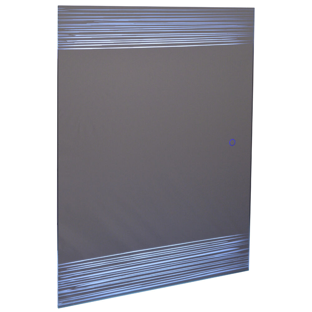 LED Illuminated 80 x 60cm Rectangular Wall Mirror Light Demister Dimmer - SP1236