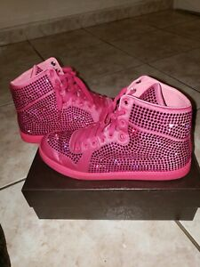 2b21f4cf3 GUCCI Women's Coda Pink Satin Crystal Stud High Top Sneakers Sz 40 ...