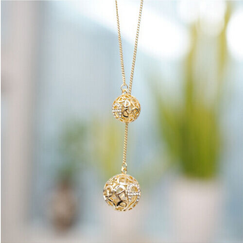 Fashion Women Gold Plated Exqusite Hollow Double Balls Long Chain Necklace