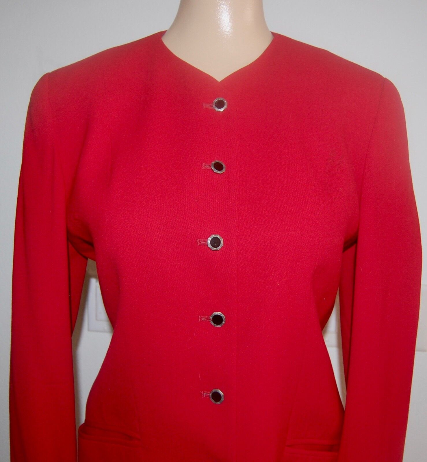 JH Collectibles Red Wool 2 Piece Suit  Blazer & Skirt Size 4 6