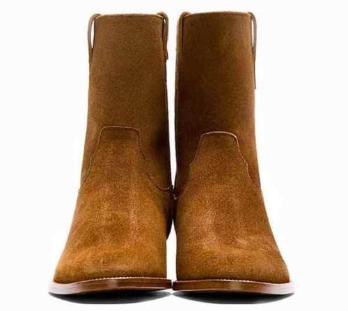 MEN HANDMADE ORIGINAL SUEDE LEATHER Schuhe CAMEL BROWN HIGH ANKLE COWBOY BOOTS