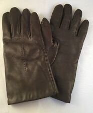 Isotoner Brown Gloves Women's Size 7 Genuine Leather Poly Lining EUC