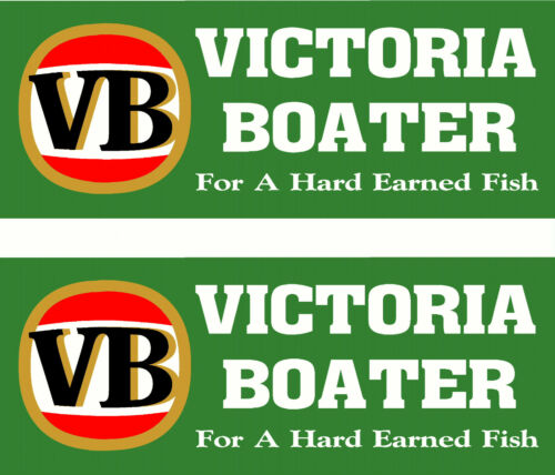 Pair of Victoria Boater Vic Fishing Boat Decal Sticker 290 x 115mm each