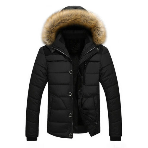 Jacket Warm Coat Short Outwear Men/'s Fur Collar Hooded Parka Winter Thicken