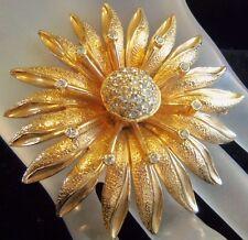NETTIE ROSENSTEIN BEAUTIFUL GOLD PLATED FLOWER BROOCH PIN RARE