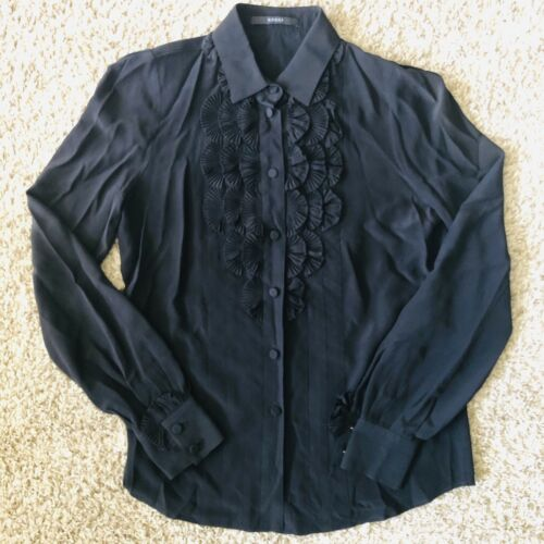 Gucci Silk Black Ruffle Blouse XS