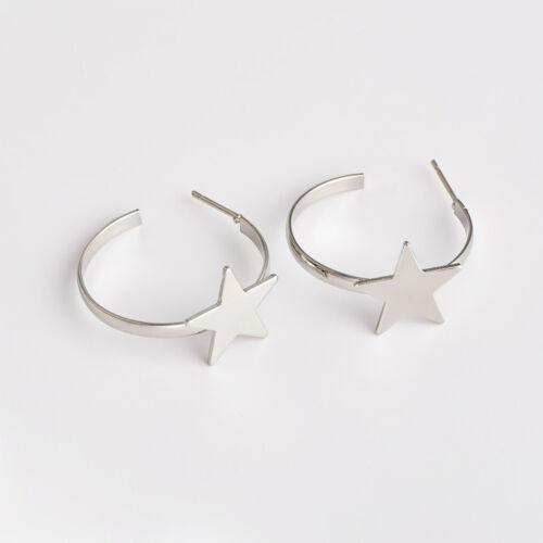 Pentagram Star Circle Drop Earrings Women/'s Punk Rock Round Hoop Gothic Earrings