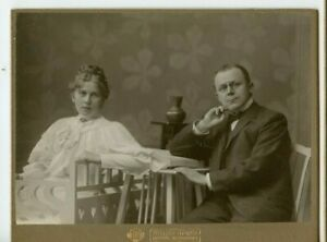 Vintage Cabinet Card Serious Looking German Couple Fashion Costume