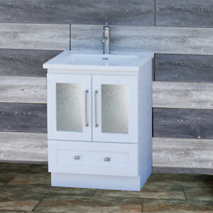 Details About 24 Bathroom White Vanity Inch Cabinet Ceramic Intergrated Sink Top Faucet Bw