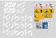 KUBOTA U20-3 Mini Escavatore decalcomania Set