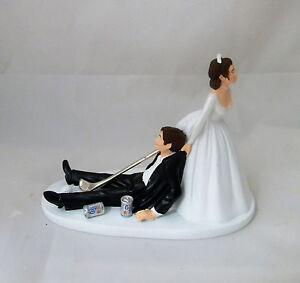 Wedding Party Golf Ball & Club Golfer Cake Topper Beer ...