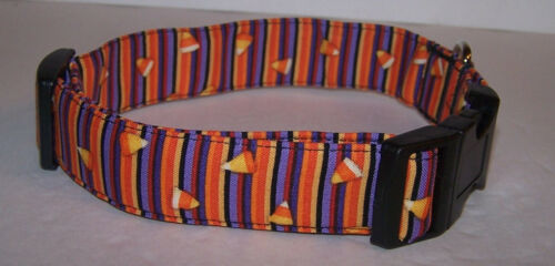 Wet Nose Designs Colorful Candy Corn Stripes Dog Collar Halloween Purple Orange