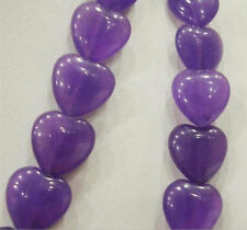 "10x10mm Amethyst Flat Heart-shaped Beads 15""AAA"