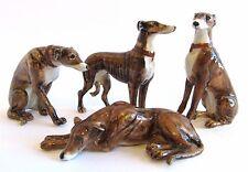 Miniature Porcelain Hand Painted Dog Figurine - Set/4 Greyhounds - Brown/Brindle