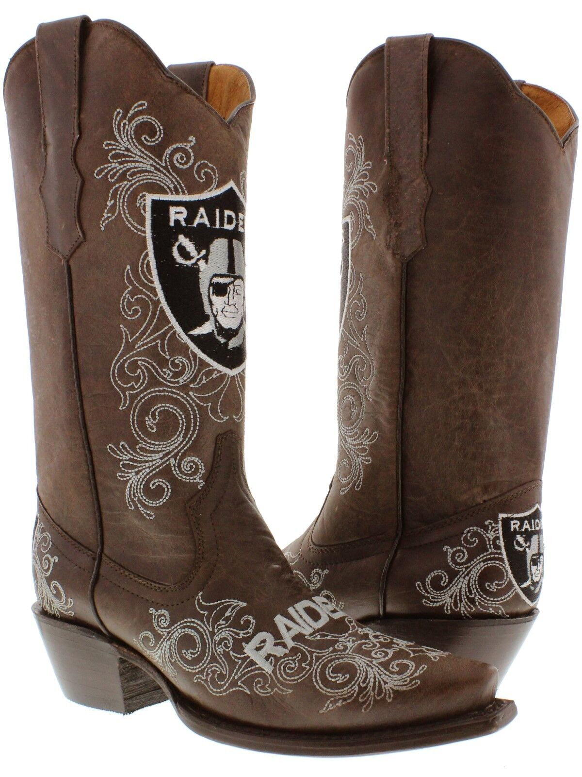 Brown Oakland Raider Rodeo Riding Leather Cowboy Boots Western Snip Toe new