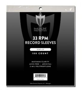 100-Record-Storage-Sleeves-Plastic-Outer-33-RPM-LP-Covers-Album-Holders-Max-Pro