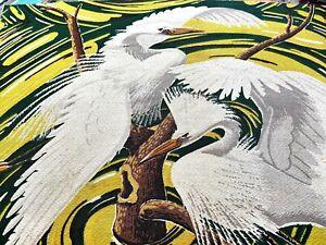 Island Egrets & Swirl Barkcloth Vintage Fabric Pillows Bags Miami Beach Birds