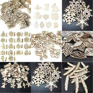 50pcs-Christmas-Wood-Chip-Tree-Ornaments-Xmas-Hanging-Pendant-DIY-Crafts-Decor