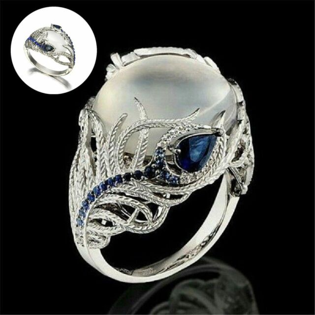 Silver Women's Jewelry Huge Moonstone Wedding Man Engagement Ring Opal Stone --