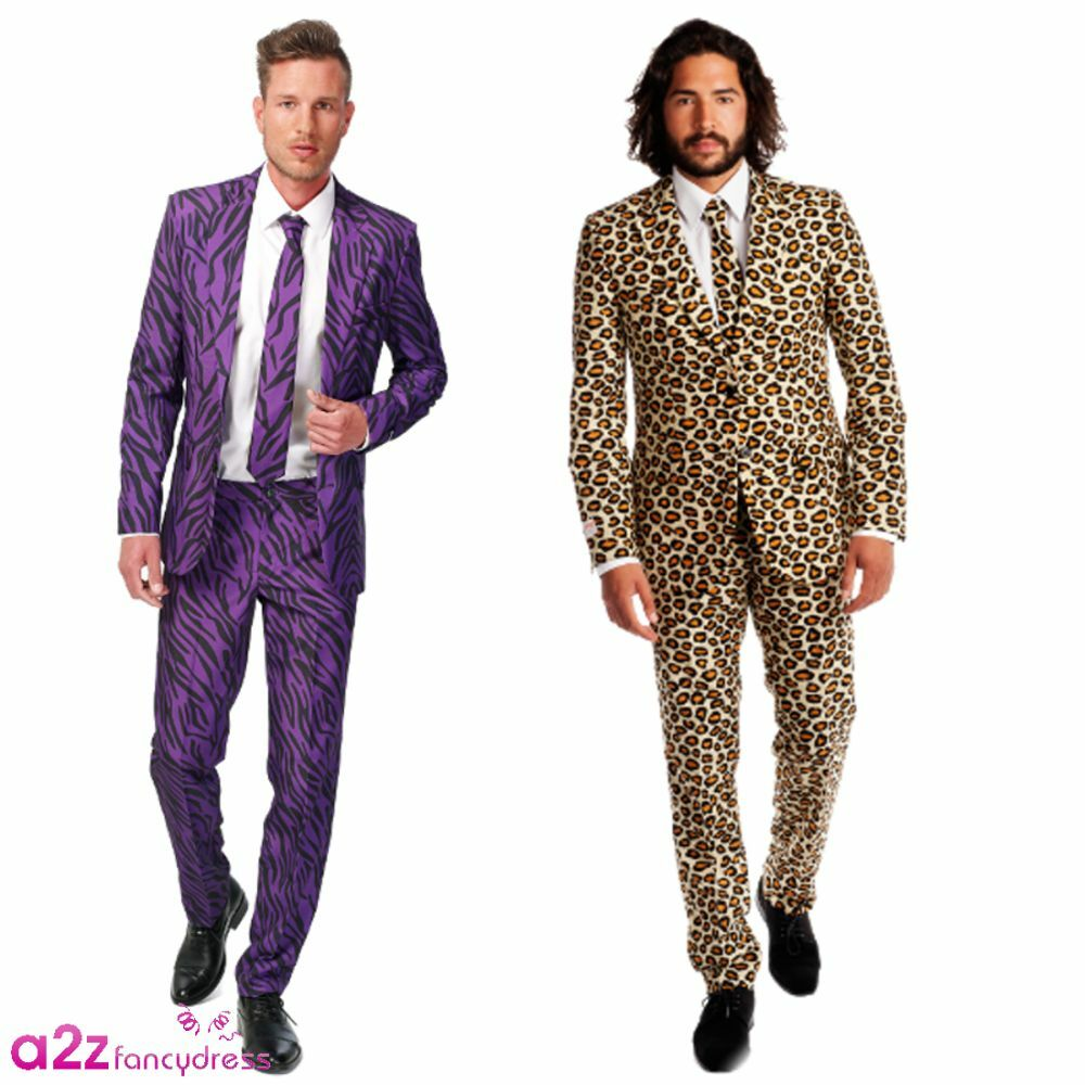 Herren ADULT SUITMEISTER OPPOSUIT ANIMAL PRINT STAG PARTY PROM SUIT FANCY DRESS