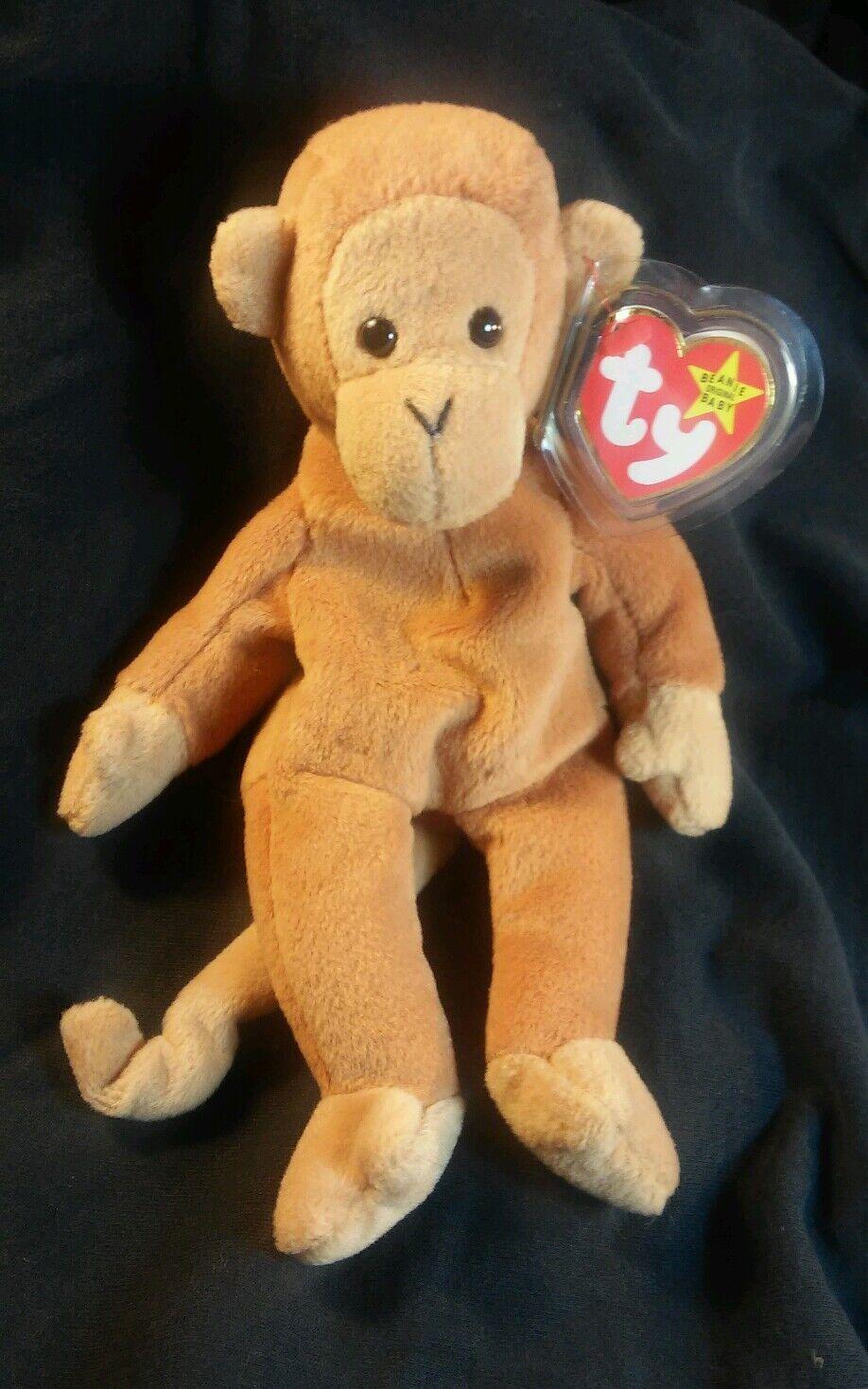 Rare Retired Ty Beanie Babies  Bongo  Monkey with errors