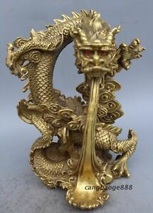 26cm China Fengshui Brass Wealth Dragon play pearl Big Statue Noble Decorate
