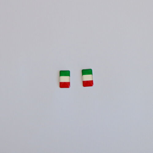 2 X  SMALL 19mm x 11mm Italy Italian Flag Car 3D Emblem Decal Badge Sticker