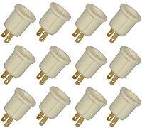 Adaptor 110v Outlet Socket Ac Plug To Standard Screw Base Light Bulb Ivory