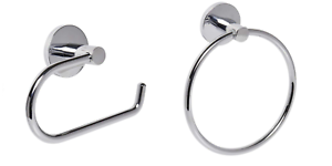 Polished Chrome Bathroom Toilet Roll Holder & Towel Ring Set Round Wall Mounted.