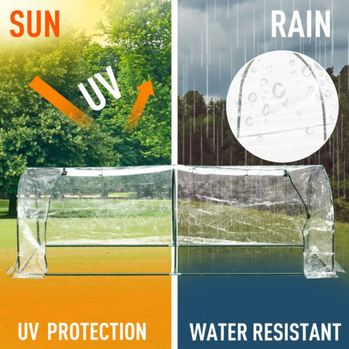 Outsunny Transparent PVC Tunnel Greenhouse Grow House Steel Frame 250x100x80 cm