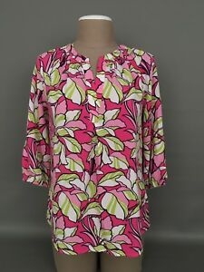 CROWN-amp-IVY-Women-039-s-SMALL-Multicolor-Floral-Print-3-4-Sleeves-Boho-Blouse-Top