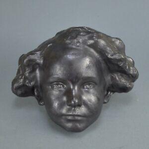 Eugene-CANNEEL-1882-1966-Sculpture-murale-patine-visage-de-garcon
