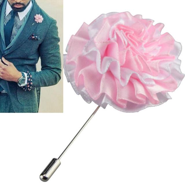 Lapel Flower Pink Boutonniere Stick Brooch Pin Men s Shirt Suit Tie Womens ef7efb5c9