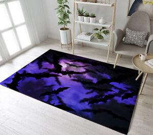 Floor Rug Mat Halloween Moon Night Bat Group Bedroom Carpet Living Room Area Rug Ebay