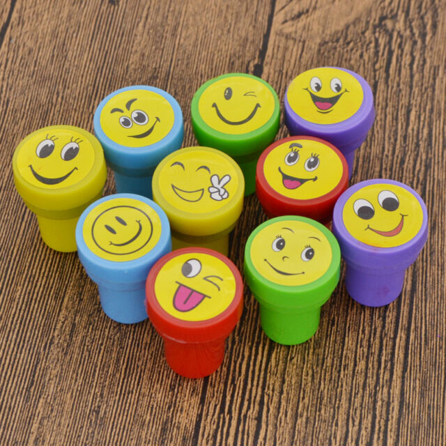 10 Pcs Self Inking Rubber Stamp Smile For Business School Office Kid Child Gifts