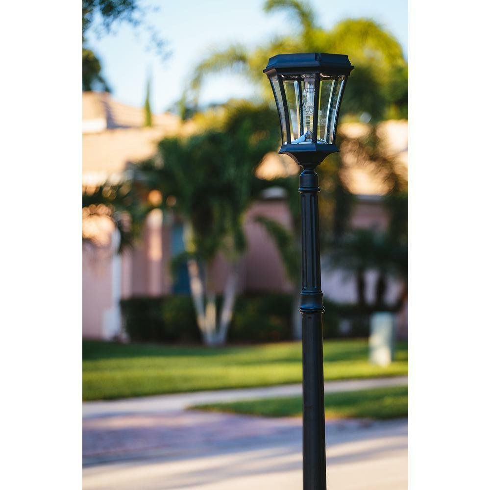 Gama Sonic Outdoor Solar Lamp Post schwarz Integrated Integrated Integrated LED Light Bulb Aluminum New 37cc40