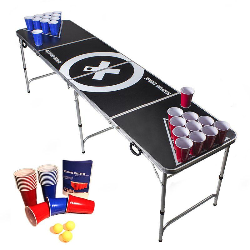 Beer Pong Tisch Set - Audio Table - inkl. 100 Becher (50 Rot&50 Blau) & 6 Bälle