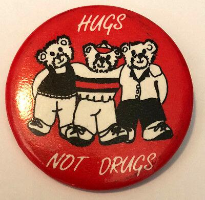 "Bears Hugs Not Drugs 1.75/"" Pinback Button"