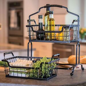 Image Is Loading 2 Tier Wrought Iron Wire Basket Storage Fruit