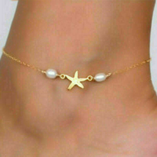Women Foot Chain Stainless Steel Gold//Silver Star Anklet Ankle Fashion Bracelet
