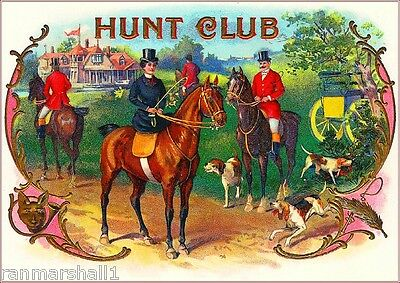 Hunt Club Horses Hunting Dogs Vintage Cigar Box Label Advertisement Art Print Ebay