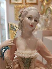 Capodimonte porcelain. Lady with Ventaglio models Lace porcelain