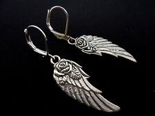 A PAIR OF TIBETAN SILVER WING FEATHER FLOWER LEVERBACK HOOK EARRINGS. NEW.