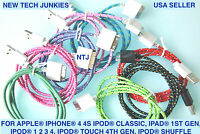 Fabric Braided USB data power cord Charger Cable adapter charge for iPhone 4S 3G