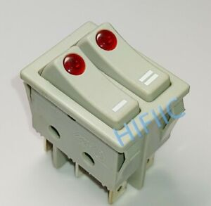 DEFOND DRH-2415 Double Button Rocker Switch 6 Pins 16A 250VAC T125 Red Lamp