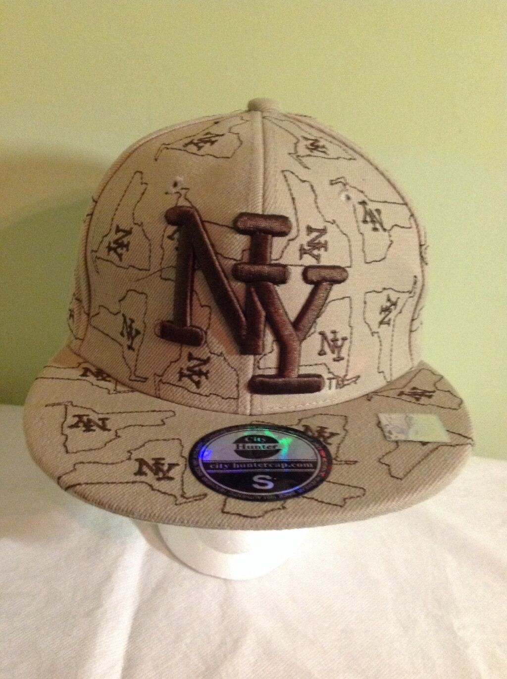 City Hunter Embroidered  New York Baseball NY  Fitted Baseball York Cap Hat Small 8  Tan Brown ae35de