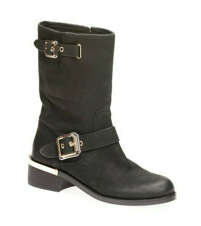 Vince Camuto Women's Windy Motorcycle Boots Leather Black Size 6.5 M US