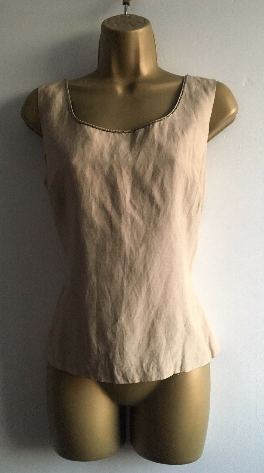 Vintage LAURA ASHLEY Beige Linen  Silk Blend Bead Detail Corset Top - 12   14 UK
