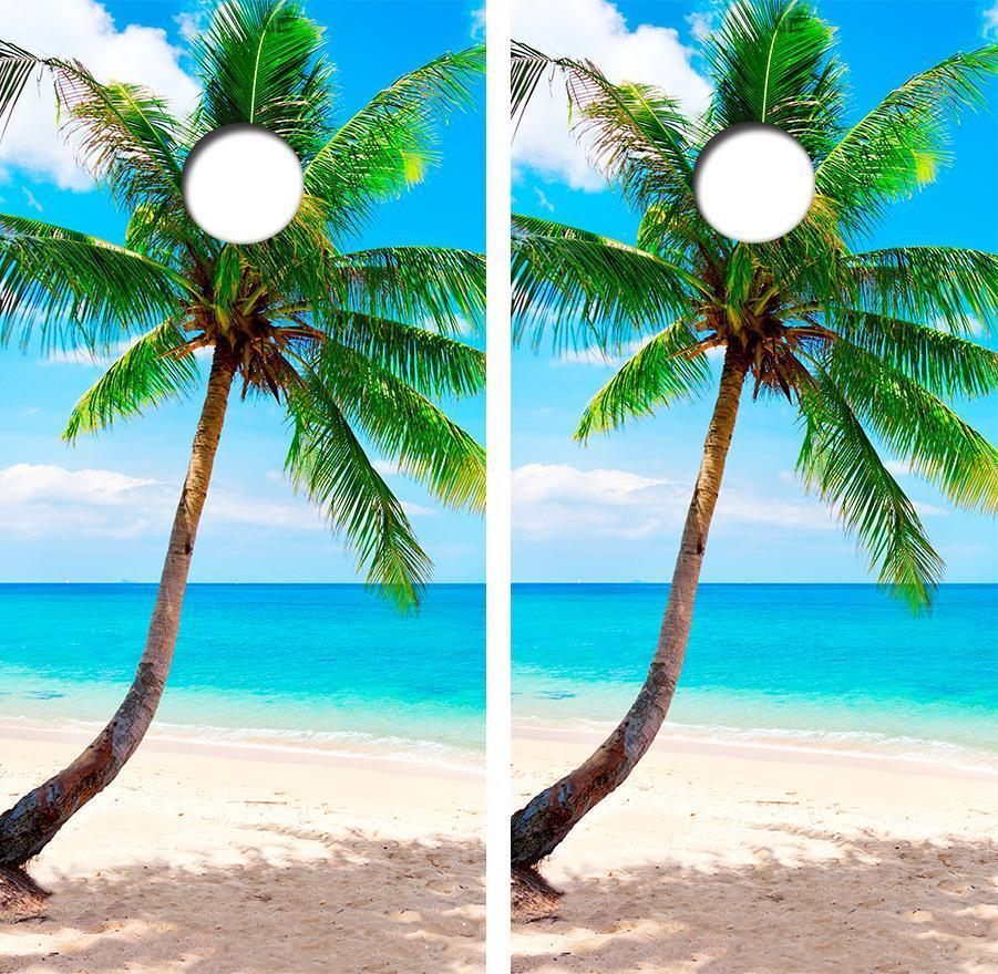 Beach Palm Tree Design Cornhole Board Skin Wrap FREE SQUEEGEE C2115